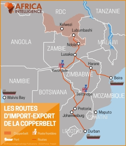 Les routes d'import-export de la Copperbelt.