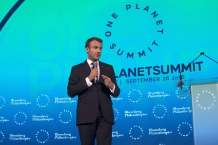 Le président français Emmanuel Macron au One Planet Summit, à New York, le 29 septembre 2018.