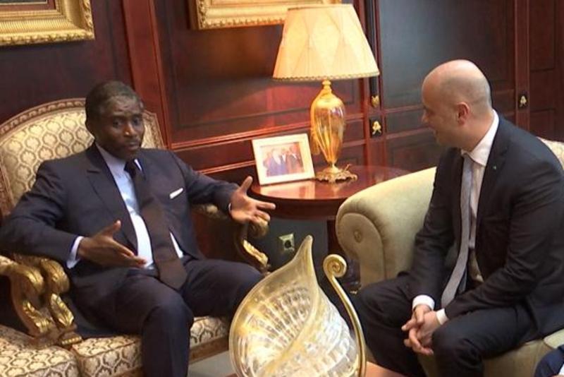 Rencontre entre le président de Guinée équatoriale Teodoro Obiang Nguema et Selim Bora, président du conglomérat turc Summa, en avril 2019.